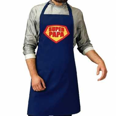 Goedkope super papa barbeque schort /keukenschort kobalt blauw heren