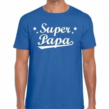 Goedkope super papa cadeau t shirt blauw heren