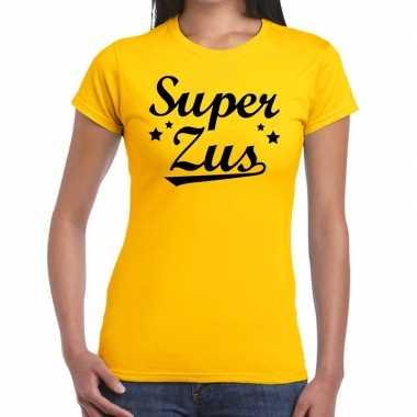 Goedkope super zus cadeau t shirt geel dames