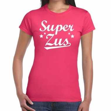 Goedkope super zus cadeau t shirt roze dames