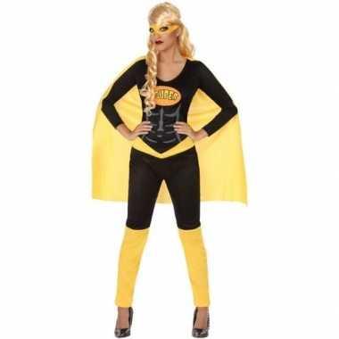 Goedkope superheld verkleed pak/kostuum zwart/geel dames