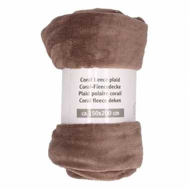 Goedkope taupe fleece deken