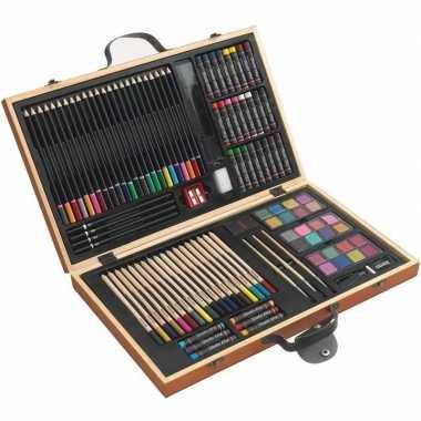 Goedkope tekenset/kleurset koffer