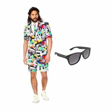Goedkope testbeeld heren zomer kostuum maat (xl) gratis zonnebril