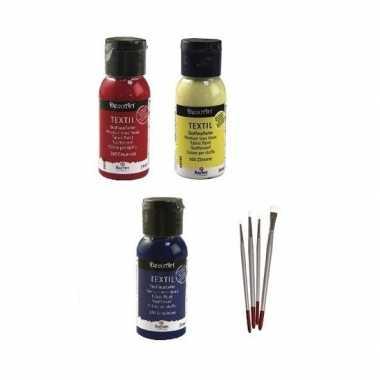 Goedkope textielverf pakket primaire kleuren penselen