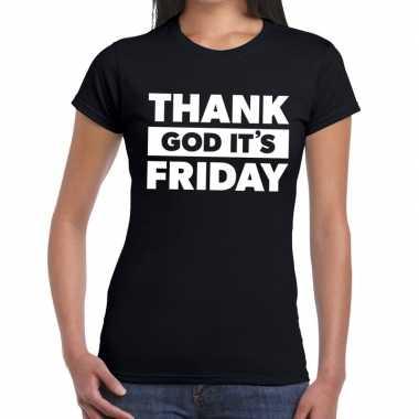 Goedkope thank god it is friday tekst t shirt zwart dames