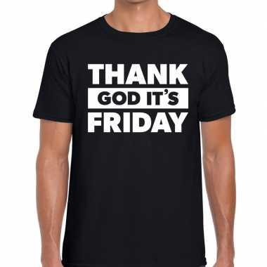 Goedkope thank god it is friday tekst t shirt zwart heren