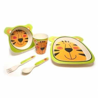 Goedkope tijger dieren thema bamboe kinderservies set