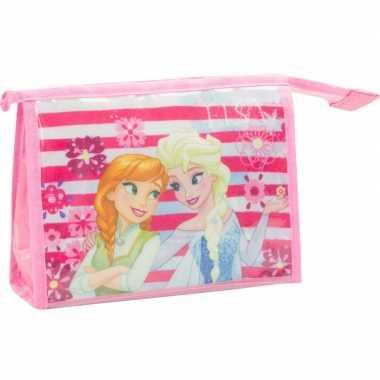 Goedkope toilettas/make up tas frozen licht roze , kinderen