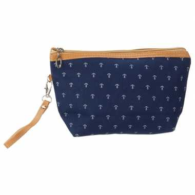 Goedkope toilettas/make up tas maritiem navy blauw , dames