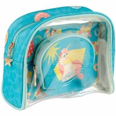 Goedkope toilettas/make up tassen set eenhoorn/unicorn kinderen