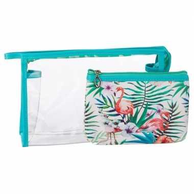 Goedkope toilettas/make up tassen set flamingo blauw dames