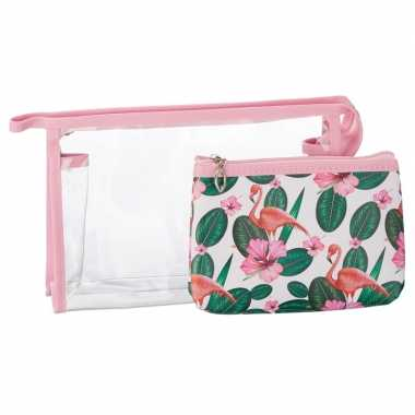 Goedkope toilettas/make up tassen set flamingo roze dames