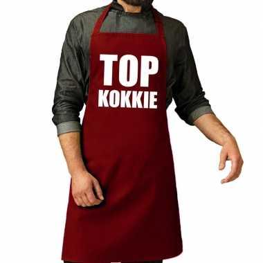Goedkope top kokkie barbeque schort / keukenschort bordeaux rood her