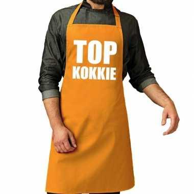 Goedkope top kokkie barbeque schort / keukenschort oker geel heren