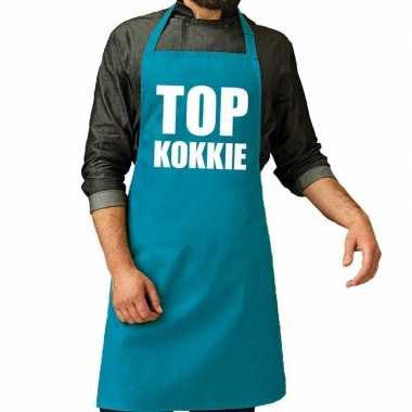 Goedkope top kokkie barbeque schort / keukenschort turquoise blauw he