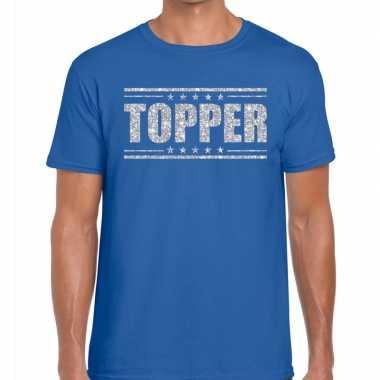 Goedkope topper t shirt blauw zilveren glitters heren