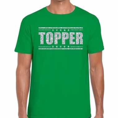 Goedkope topper t shirt groen zilveren glitters heren
