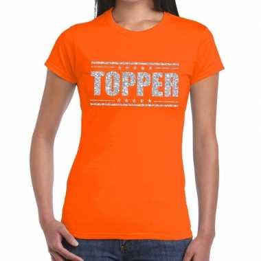 Goedkope topper t shirt oranje zilveren glitters dames