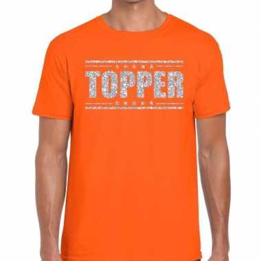Goedkope topper t shirt oranje zilveren glitters heren
