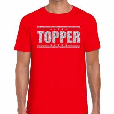 Goedkope topper t shirt rood zilveren glitters heren
