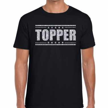 Goedkope topper t shirt zwart zilveren glitters heren