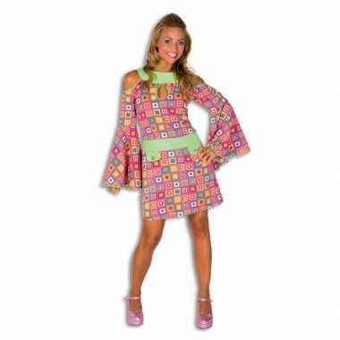 Goedkope toppers kleurrijk disco jurkje