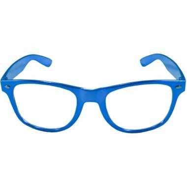 Goedkope toppers verkleed bril metallic blauw