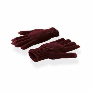 Goedkope touchscreen handschoenen bordeaux rood volwassenen
