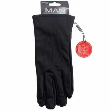 Goedkope touchscreen handschoenen lederlook zwart heren