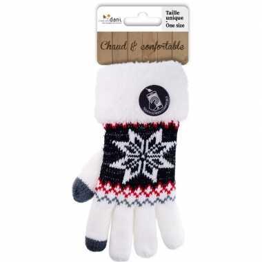Goedkope touchscreen handschoenen nordic/wit dames