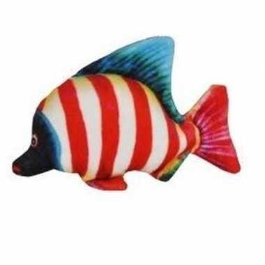 Goedkope tropische pluche knuffel vis wit rood gestreept