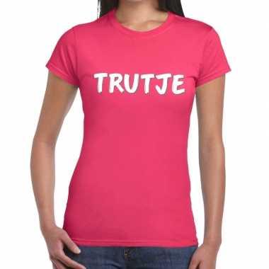 Goedkope trutje tekst t shirt roze dames