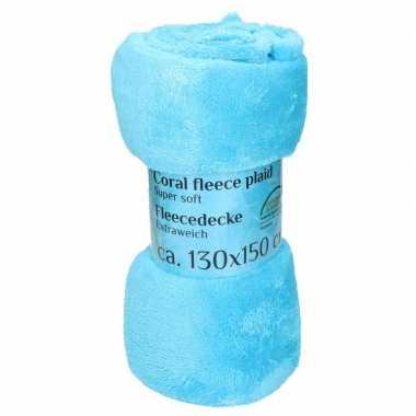 Goedkope turquoise fleece deken
