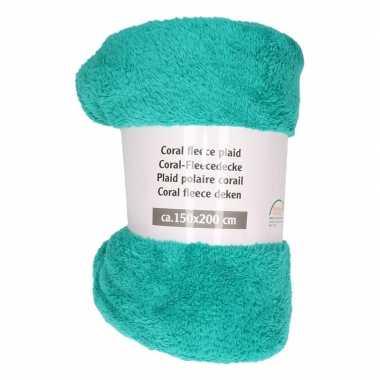 Goedkope turquoise groene fleece deken