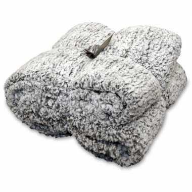 Goedkope vacht plaid/deken knut antraciet grijs