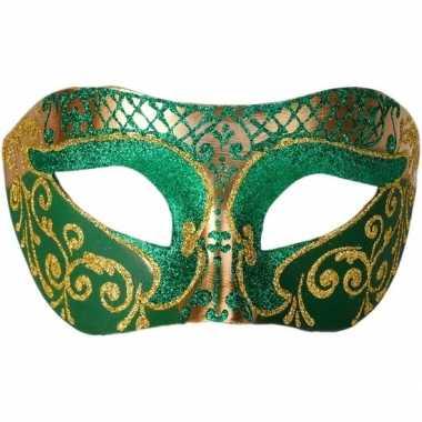 Goedkope venetiaans glitter oogmasker groen/goud