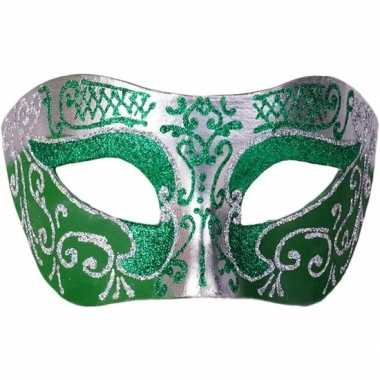 Goedkope venetiaans glitter oogmasker groen/zilver