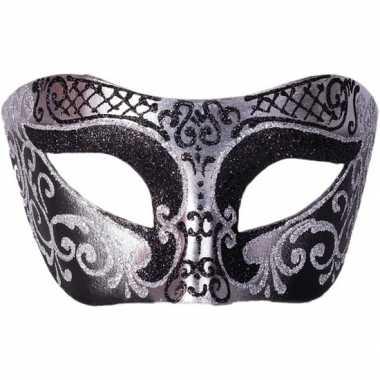 Goedkope venetiaans glitter oogmasker zwart/zilver