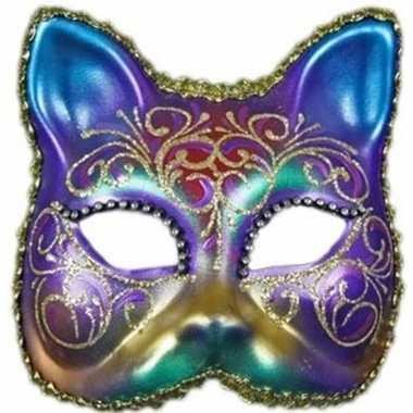 Goedkope venetiaanse regenboog kat masker