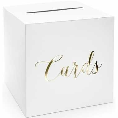 Goedkope verjaardag/jubileum enveloppendoos wit/goud cards