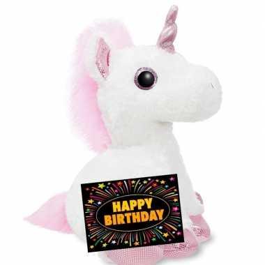 Goedkope verjaardag knuffel eenhoorn + gratis verjaardagskaart