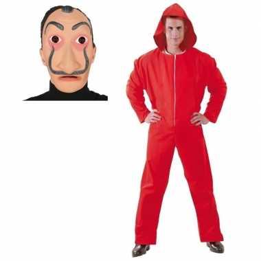 Goedkope verkleed overall papel rood maat l heren dali masker