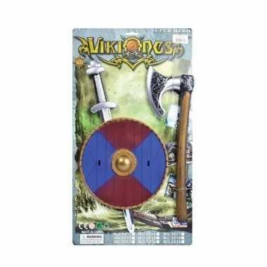 Goedkope viking zwaard rood blauw schild bijl set