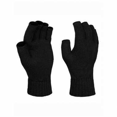 Goedkope vingerloze gebreide handschoenen zwart volwassenen