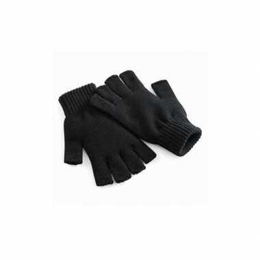 Goedkope vingerloze gebreide heren handschoenen zwart