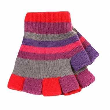 Goedkope vingerloze handschoenen gekleurde streepjes meisjes