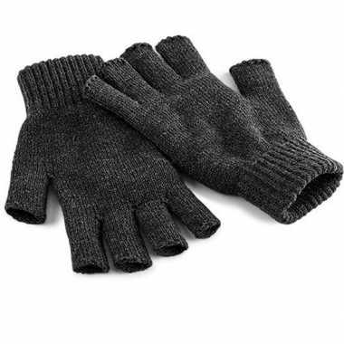 Goedkope vingerloze handschoenen grijs volwassenen