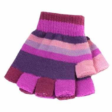 Goedkope vingerloze handschoenen paarse streepjes meisjes