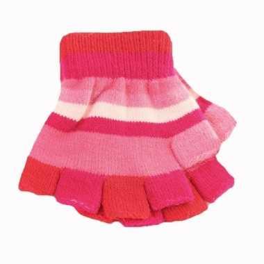 Goedkope vingerloze handschoenen roze streepjes meisjes